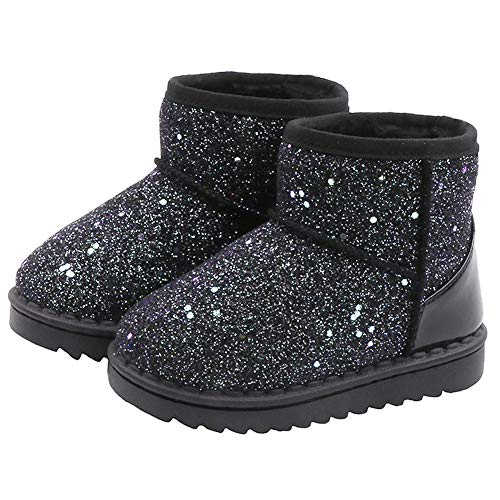 Blue Line Toddler Girls Boots, Boy's/Girl's Warm Winter Sequin Waterpoof Outdoor Snow Boots, D.black, 9 Toddler