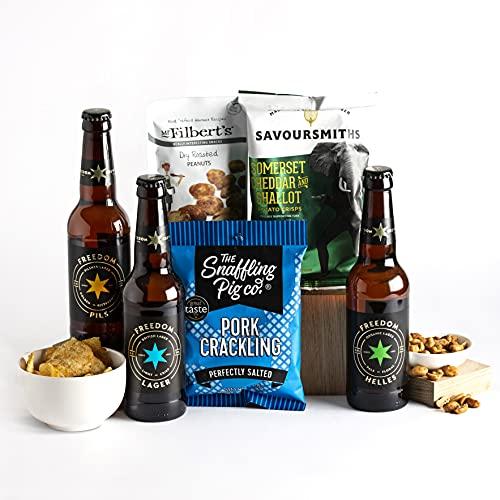 Cesta de comida y cerveza artesanal - Cestas de cerveza y de regalo para hombre - Surtido de delicias y cervezas