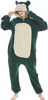 Pijamas navideñosAnimal Adultos Gato Oso tiburón Onesies Pijama Mapache Zorro Disfraces dragón Mono, Verde Snorlax, L