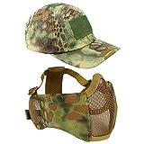 Máscara de malla Airsoft con protección de oídos y gorra de béisbol ajustable para CS/caza/paintball/tiro (MA)