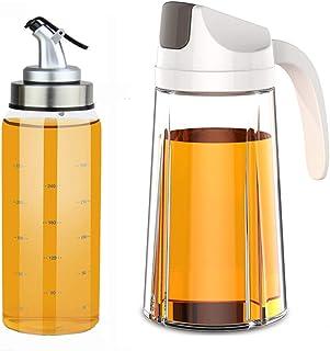 YAOYUE Auto Flip Olive Oil Dispenser Bottle 20 OZ And Olive Oil Dispenser Bottle 10 Oz,2 Pack Set Oil Vinegar Condiment Ho...