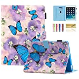 iPad 9.7 inch 2018/2017 Case, iPad Air 2 Case, iPad Air Case, Dteck PU Leather Folio Folding Adjustable Stand Auto Wake/Sleep Smart Case for Apple iPad 6th / 5th Gen,iPad Air 1/2, Blue Butterflies