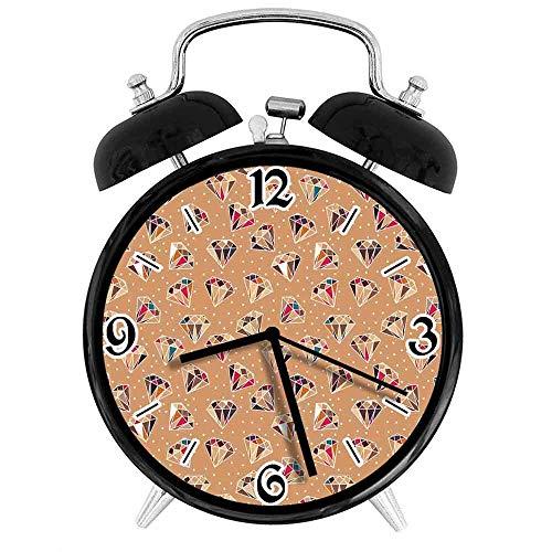 SanJIUCOM Reloj Despertador Digital Formas de Piedras Preciosas de Diamantes sobre un Fondo con Lunares Adecuado para Estudio de Dormitorio de Oficina