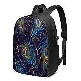Peacocks Tails - Mochila para ordenador portátil, universidad, mochila informal con puerto de carga USB