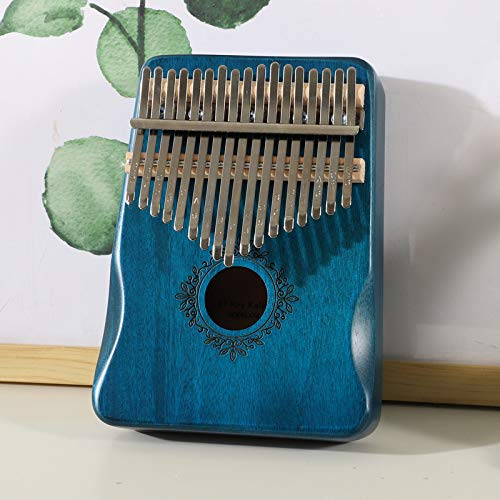 FRRPSG 17 Tasten Kalimba Calimba Daumen Klavier Mbira Muspor Musikinstrument Kalimbas Mahagoni Korpus Mit Zubehör Blau