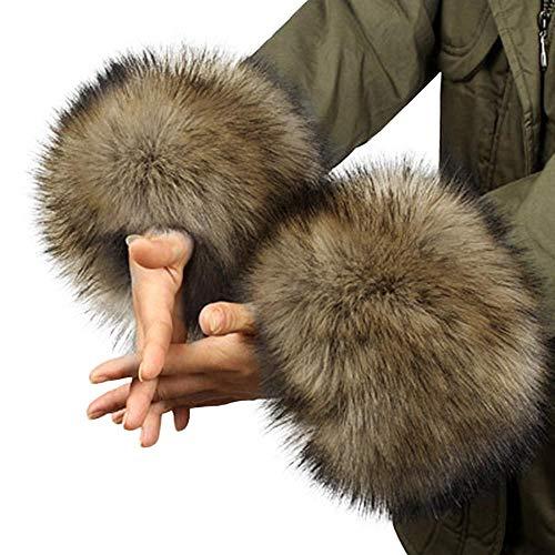 Tonsee 2015 herbst Winter warme Fell Manschette Handschuhe Imitation Kaninchen Pelz Ärmel weiblichen Handgelenk Armband Fell Winter Sätze (Caffee) (Caffee)