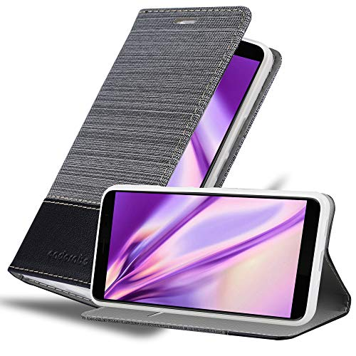 Cadorabo Coque pour HTC U11 Plus en Gris Noir - Housse Protection avec Fermoire Magnétique, Stand Horizontal et Fente Carte - Portefeuille Etui Poche Folio Case Cover