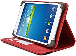 Vulcan Journey 7 Inch Tablet Case, UniGrip PRO Series - RED - By Cush Cases (Case Features Top Quality PU Leather with Bulit In Stand, Hand Strap, 3 Card Slots and SIM Card Holder)