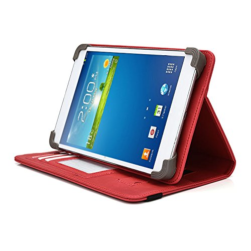 "Trio AXS 4G 7.85"" Tablet Case, UniGrip PRO Series - RED - by Cush Cases (Case Features PU Leather with Bulit in Stand, Hand Strap, 3 Card Slots and SIM Card Holder)"