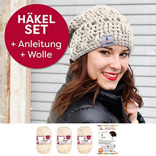 myboshi Häkel-Set Mütze Ebino | aus No.1 | Anleitung + Wolle | mit passender Häkelnadel | Elfenbein
