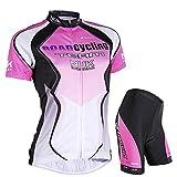 NUCKILY Ciclismo Jersey mujeres manga corta conjunto bicicleta camisa chaqueta superior acolchada pantalones cortos secado rápido Montaña montar ropa trajes - rosa - XL (165/170 cm) (65/70 kg)