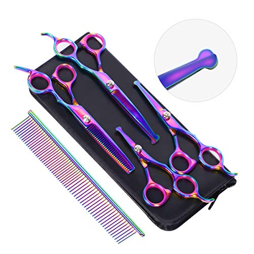 HAVARGO Dog Grooming Scissors, Heavy Duty Stainless Steel, Round Top Pet Grooming Trimmer Kit - Thinning, Straight, Curved Shears - Comb, Dog Cat Shears for Full Body