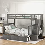 Twin Over Full Bunk Bed for Kids, Mission Style Wood Bunk Twin Over Full Size Bed Frame with Storage Drawers and Shelves, No Box Spring Needed,Stackable