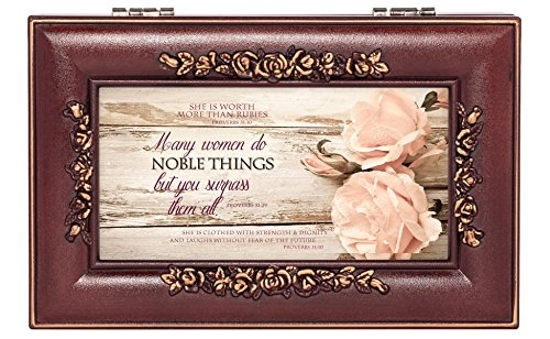 Cottage Garden Noble Woman Rosewood Finish Jewelry Music Box Plays Canon in D
