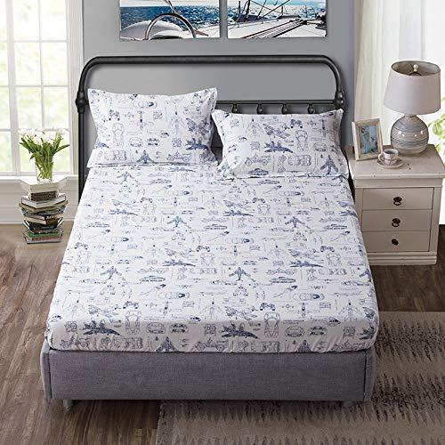 XGguo Protector de colchón Acolchado - Microfibra - Transpirable - Funda para colchon estira hasta Sábana Estampada de una Sola Pieza cotton-13_180 * 200 + 25cm