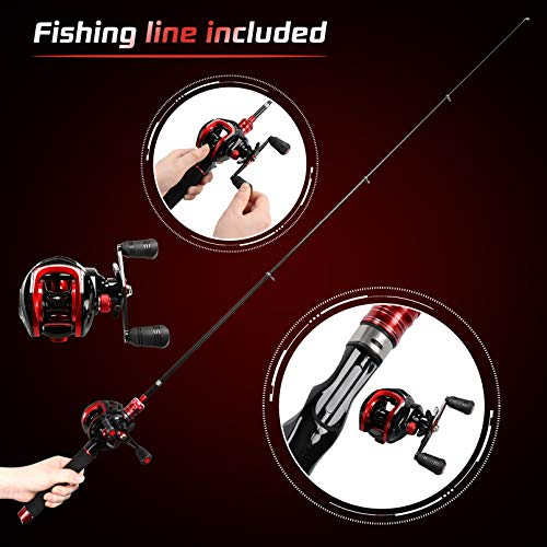 BNTTEAM Mini Baitcasting Reel and Rod Combos Hard High Carbon Fiber Telescopic Portable Hand Artificial Lures&Fishing Line Fishing Rod&Reel for beginners(Left Handed, 1.8M/70.8in/5.9ft)