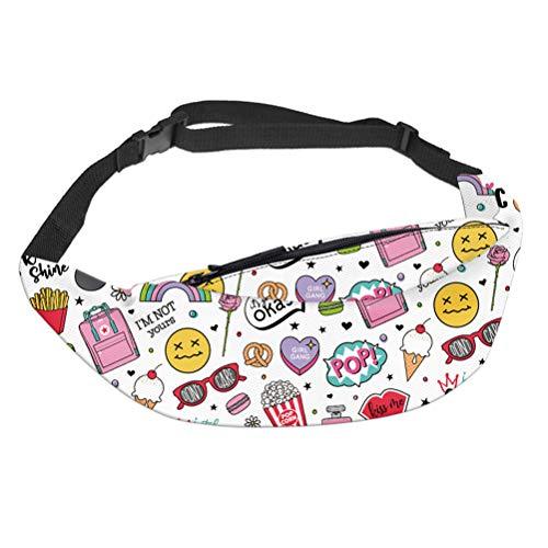 Fenical Gürteltasche Hüfttasche Cartoon Tasche Popcorn EIS Muster Gedruckt Einstellbare Reißverschlusstasche Reise Gürteltasche Schultertasche für Frauen Mädchen Kinder (Weiß)