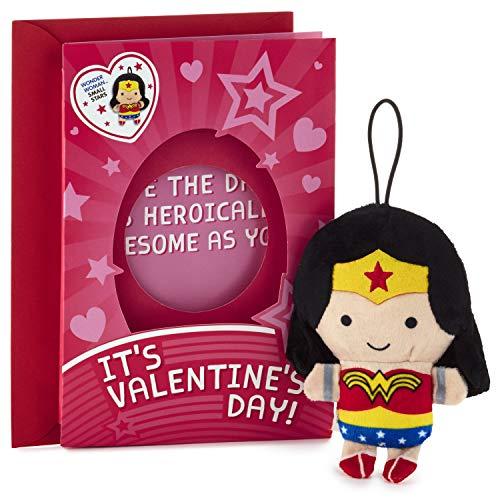 Hallmark Wonder Woman Valentine's Day Card for Kids with Plush Toy (Wonder Woman Fluffball Ornament)
