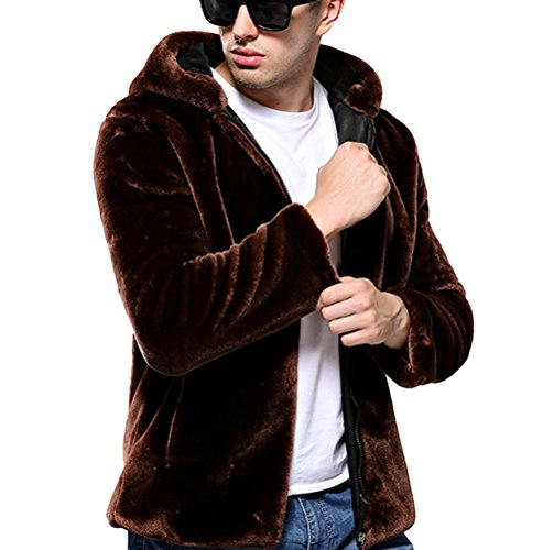 Uomo Giacche e Cappotti Invernale Lungo Cappotto con Cappuccio di Pelliccia di Faux Giacca Outwear Maniche Lunghe S caffè
