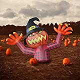 GOOSH 4.2 FT Height Halloween Inflatables Pumpkin Ghost with Witch Wizard hat, Blow Up Yard Clearance Decoration with Built-in LED Lights for Indoor/Outdoor Holiday/Party/Yard/Garden