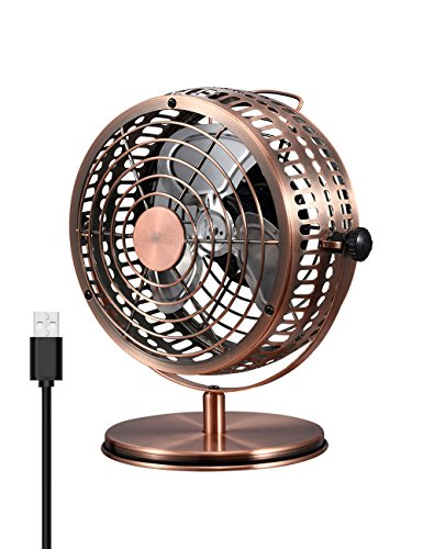 USB Retro Desktop Metal Blades Cooling Fan with 135 Degree Rotation.Perfect for Laptop Notebook PC Desk Table Fan - Metal Bronze.