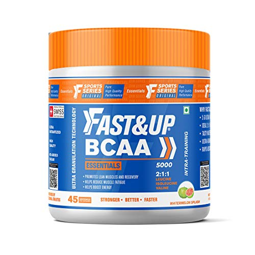 Fast&Up BCAA Essentials (45 Servings, Watermelon Flavour) BCAA Supplement with 2:1:1 Ideal Ratio Leucine, Isoleucine & Valine - Pre/Post & Intra Workout Supplement For Recovery & Performance Boost