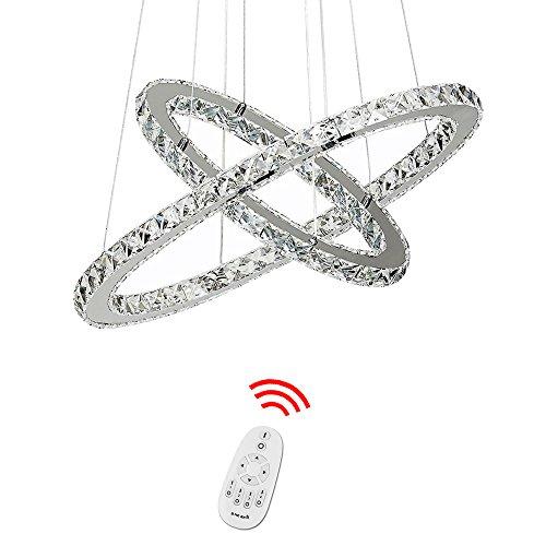 HJ® 78W Lustre de Cristal LED 2 Anneaux Dimmable avec Télécommande Lumière Chrome Plafonnier Moderne Luminaire Lampe LED Plafond suspension LED Design pour Cuisine Salle à Manger Chambre Bar