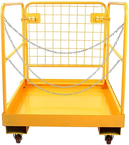 Sidasu Forklift Safety Cage 1150LBS Capacity with 4 Universal Wheels Forklift Work Platform 36x36 Inches, Forklift Aerial Platform Collapsible Lift Basket, Aerial Rails for Lifting Loader