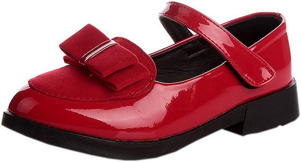 Vokamara Girls Suede Bow Patent Leather Mary Jane Uniform Shoes