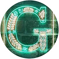 Letter G Initial Monogram Family Name Dual Color LED看板 ネオンプレート サイン 標識 緑色 + 黄色 210 x 300mm st6s23-i3444-gy