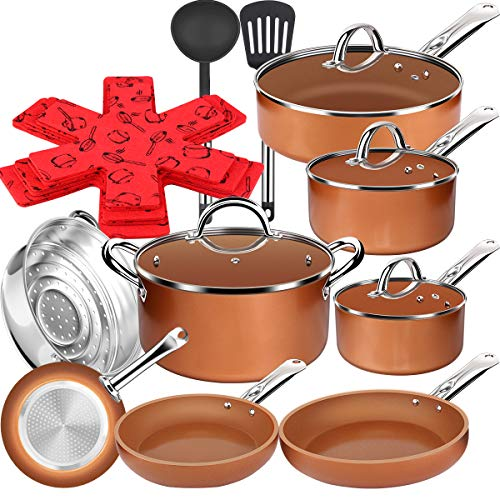 Dealz Frenzy Ceramic Non-stick 20 Pieces Copper-Infused Induction Cookware Pots and Pans Set,Oven/Dishwasher Safe, Highly Wear-Resistant,Scratch Resistance, Anti-warp, Thicken Base, Stainless Handles