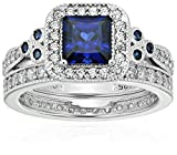 Platinum-Plated Sterling Silver Princess-Cut Created Sapphire Vintage Ring Set made with Swarovski Zirconia, Size 7