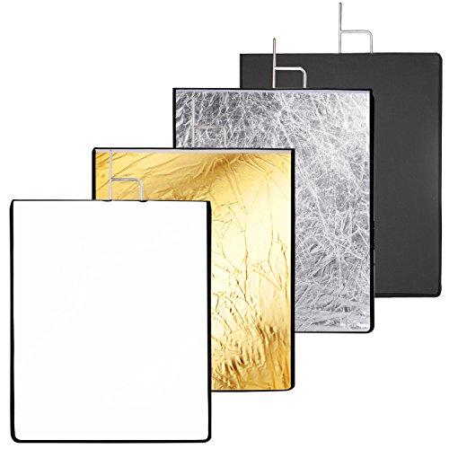 Neewer 4-en-1 Panel Set Reflector con Blanco Suave, Negro, Plata y Oro Cubierta de Tela para Foto Video Estudio Fotografía (Bandera 4-en-1)