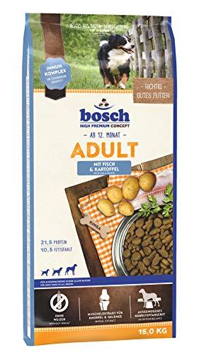 bosch HPC Adult con pescado y patata | Alimento seco para perros adultos de todas las razas | 1 x 15 kg