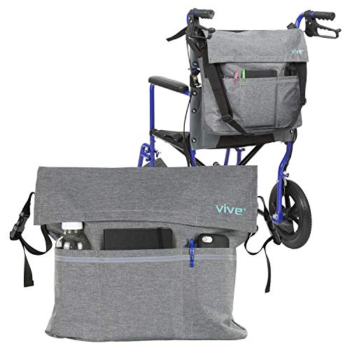 Vive Wheelchair Bag  Wheel Chair Storage Tote Accessory for Carrying Loose Items and Accessories  Travel Messenger Backpack for Men Women Handicap Elderly  Accessible Pouch and Pockets Gray
