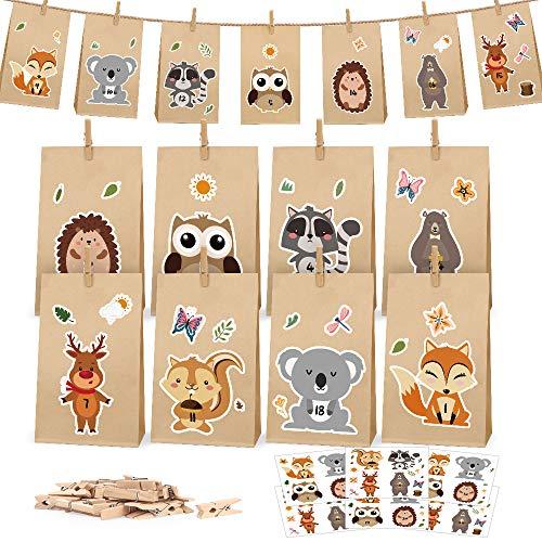 Adventskalender zum Befüllen Kinder, 25 Adventskalender Kraftpapiertüten zum individuellen Gestalten und zum Selber Füllen, Weihnachtskalender DIY Bastelset (Waldtiere)