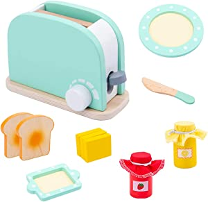 BEOVERJOYED Wooden Toy Kitchen Set Early Learning Pop-Up Toaster for Baby Boys Girls Play Toys 8 Pcs