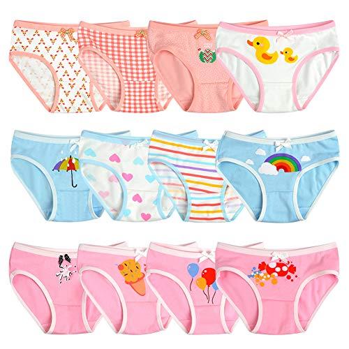 Kidear weiche Baumwoll.Unterwäsche für Babys und Kleinkinder, Slips für Mädchen, 12er-Pack, Alter 2-12 Jahre Gr. 10- 12 Jahre, Stil 9