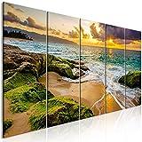 murando Cuadro Acústico Playa Mar 225x90 cm XXL Impresión Artística 5 Piezas Lienzo de Tejido no Tejido Decoración de Pared Aislamiento Absorción de Sonidos Gráfica Naturaleza c-B-0462-b-m