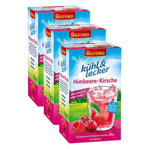 Milford kühl & lecker Himbeere-Kirsche, 20 Teebeutel, 3er Pack