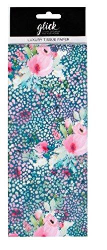 Glick Seidenpapier, Bedruckt, Gemustert, 4 Blatt, Blaugrün mit Blumenmuster