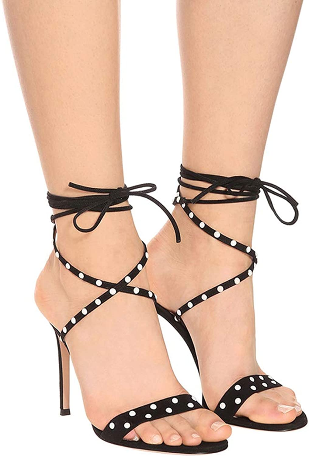 Women's Strap Design High Heel Sandals Open Toe Sexy Black Sandals for Wedding, Evening Party, Prom, Cocktail Party