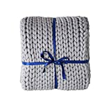 ZonLi Weighted Chunky Knit Throw Blanket for Bed, Sofa and Couch, Super Large Soft Throw Blanket Handmade Knitting Throw Blankets (Grey, 60''x80'',15lbs)