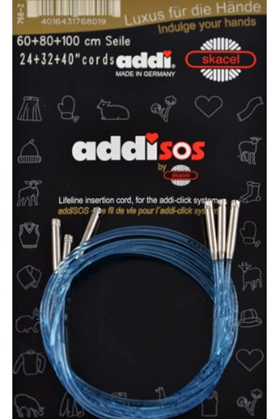 addi Click Interchangeable Knitting Needle SOS Blue Cords w/out Connector: 24 in. (60cm) 32 in. (80cm) 40 in. (100cm)