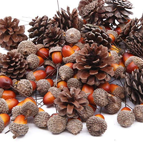 Gino Insgesamt 120 Stück künstliche Eicheln und natürliche Tannenzapfen, Ornament-Set für Zuhause, Haus, Weihnachtsdekoration, Foto-Requisiten