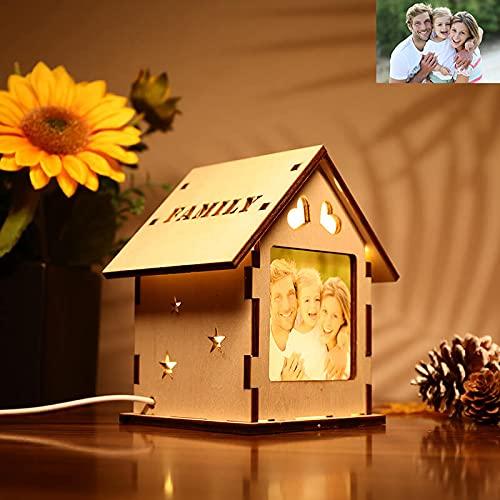 Lámpara De Madera Custom House Lámpara Fotográfica De Madera Personalizada Con 2 Imágenes Luz Nocturna De Madera Monocromática Para La Familia(wood,One size)