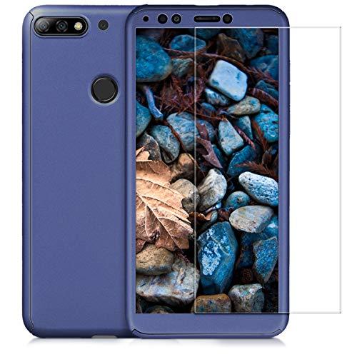 kwmobile Huawei Y7 (2018)/Y7 Prime (2018) Hülle - komplette Abdeckung - inkl. Display Schutzglas - Case für Huawei Y7 (2018)/Y7 Prime (2018) - Metallic Blau - 5