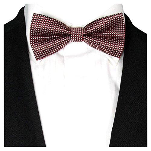GASSANI Herrenfliege Karo kariert   Rot-Schwarz   vor-gebundene Anzug-Schleife Seide-Optik   verstellbar mit Doppelflügel zum Smoking
