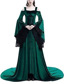 4f5eb3492f1 Costume Déguisement Medieval Femme Manche Longue Robe en Dentelle De  Princesse