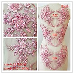Pink Hand Beaded Flower Sequence DIY Decorated Costume